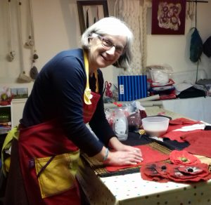 Suzie working on felt for the Poppy Project