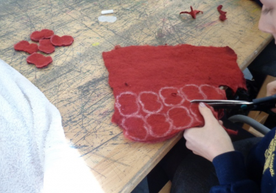 Cutting poppies out